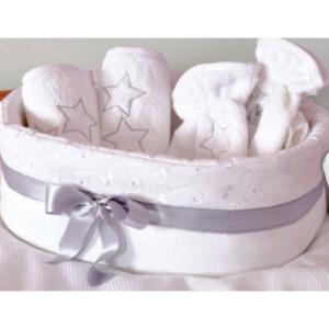 Baby Star Καλάθι Καλλυντικών Μπροντερί Λευκό