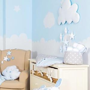 Baby Star Καλάθι Καλλυντικών Καπιτονέ Μπλε Σύννεφο Μεγάλο