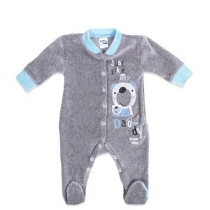 Pretty Baby Φορμάκι Βελουτέ Γκρι/Γαλάζιο 6-9 μηνών