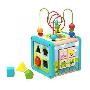 Tooky Toys Εκπαιδευτικός Ξύλινος Κύβος Με Σχήματα Και Παζλ