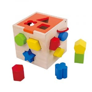 Tooky Toys Εκπαιδευτικός Ξύλινος Κύβος Με Σχήματα