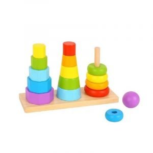 Tooky Toys Ξύλινοι Πύργοι Στίβαξης Με Γεωμετρικά Σχήματα