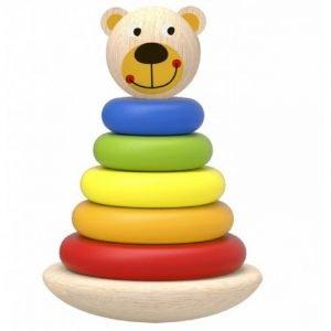 Tooky Toys Ξύλινος Πύργος Αρκουδάκι Με Δακτύλιους
