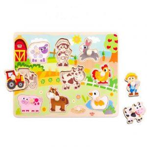 Tooky Toys Ξύλινο Παζλ Δραστηριοτήτων Με Ζωάκια