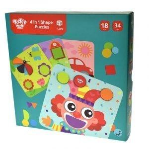 Tooky Toys Παζλ Με Σχήματα 4 σε 1