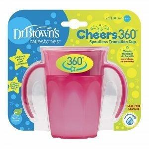 DrBrown Κύπελλο 360° Με Λαβές 200ml Ροζ