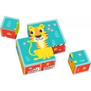 Tooky Toys Παζλ Ξύλινοι Κύβοι Ζωάκια