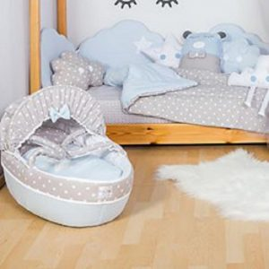 Baby Star Σεντόνια Καλαθούνας Μπλε Σύννεφο (2τμχ)