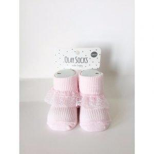 Olay Socks Κάλτσες Μποτέ Ροζ Με Δαντέλα
