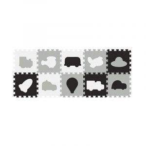 Babyono Αφρώδες Παζλ Δαπέδου Οχήματα - Ασπρόμαυρο (10τμχ)