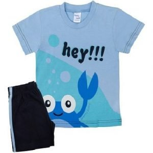 Pretty-Baby-Παιδική-Πιτζάμα-Hey-6-12-Μηνών-Μπλε-Σιέλ