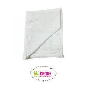 Minene Βρεφική Πλεκτή Κουβέρτα Λευκό 70x110