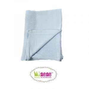 Minene Βρεφική Πλεκτή Κουβέρτα Σιέλ