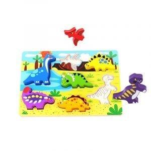 Tooky Toys Ξύλινα Σφηνώματα Με Δεινοσαυράκια