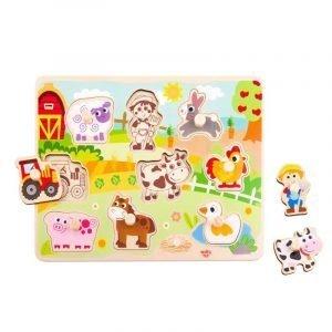 Tooky Toys Ξύλινο Παζλ Δραστηριοτήτων Με Ζωάκια Φάρμας