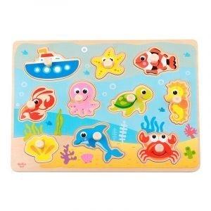 Tooky Toys Ξύλινο Παζλ Δραστηριοτήτων Με Ζώα της Θάλασσας