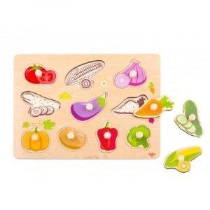 Tooky Toys Ξύλινο Παζλ Δραστηριοτήτων Με Λαχανικά