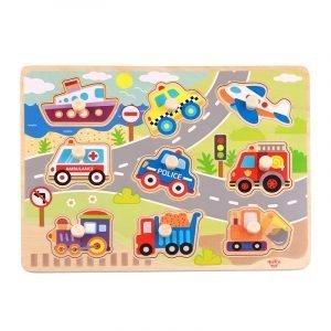 Tooky Toys Ξύλινο Παζλ Δραστηριοτήτων Με Οχήματα